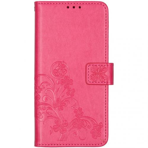 Klavertje Bloemen Booktype voor de OnePlus 7T - Roze