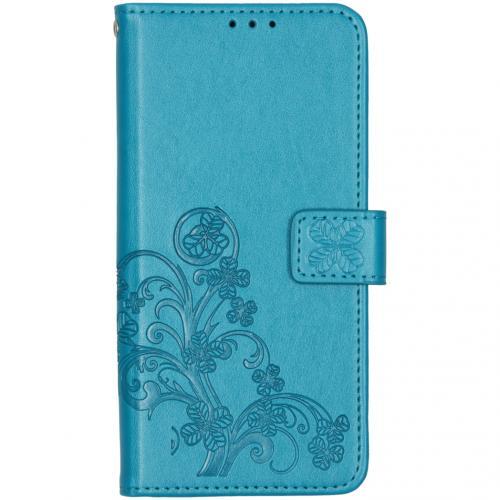 Klavertje Bloemen Booktype voor de OnePlus 7T - Turquoise