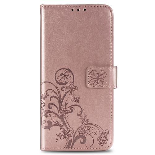 Klavertje Bloemen Booktype voor de Samsung Galaxy A41 - Rosé Goud