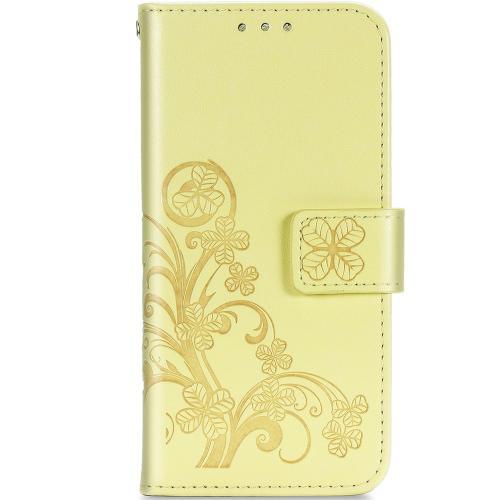 Klavertje Bloemen Booktype voor de Samsung Galaxy A42 - Geel