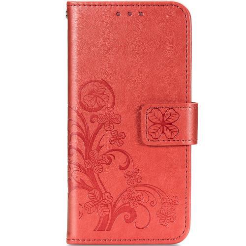 Klavertje Bloemen Booktype voor de Samsung Galaxy A42 - Rood