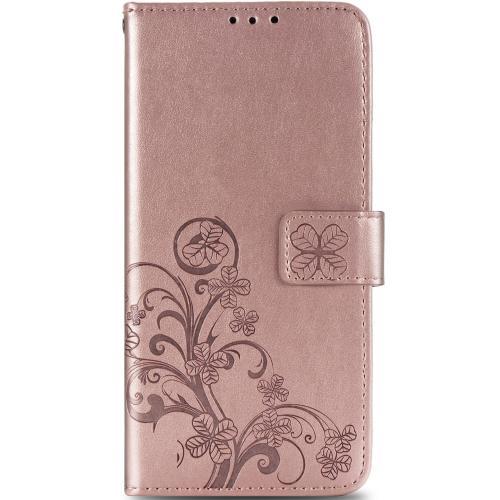 Klavertje Bloemen Booktype voor de Samsung Galaxy A42 - Rosé Goud