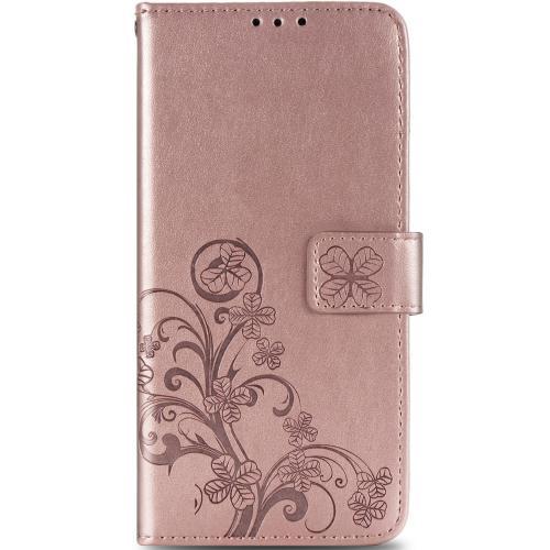 Klavertje Bloemen Booktype voor de Samsung Galaxy S20 FE - Rosé Goud