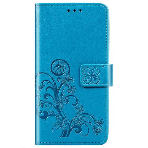 Klavertje Bloemen Booktype voor de Samsung Galaxy S20 FE - Turquoise