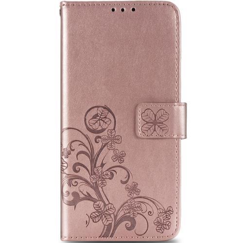 Klavertje Bloemen Booktype voor de Sony Xperia 10 II - Rosé Goud