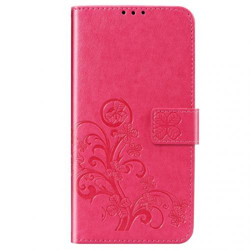 Klavertje Bloemen Booktype voor de Xiaomi Redmi Note 8 - Fuchsia