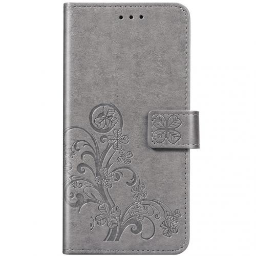 Klavertje Bloemen Booktype voor de Xiaomi Redmi Note 8 - Grijs