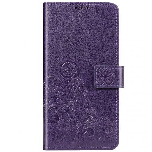 Klavertje Bloemen Booktype voor de Xiaomi Redmi Note 8 - Paars