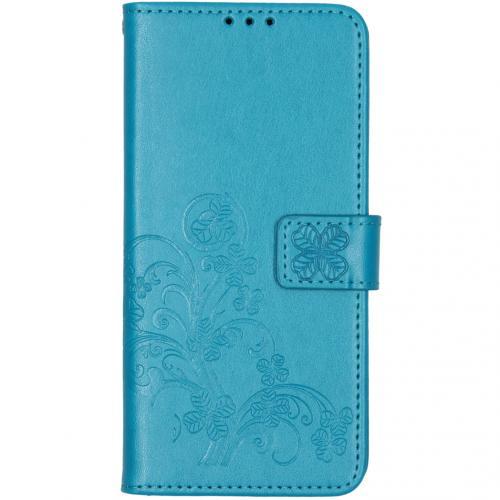 Klavertje Bloemen Booktype voor de Xiaomi Redmi Note 8 - Turquoise