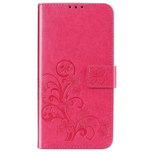 Klavertje Bloemen Booktype voor de Xiaomi Redmi Note 9 - Fuchsia