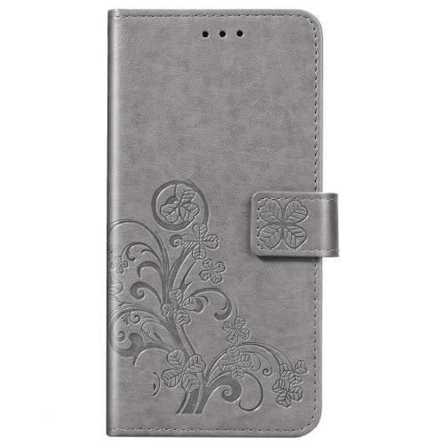 Klavertje Bloemen Booktype voor de Xiaomi Redmi Note 9 - Grijs