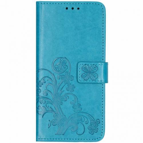 Klavertje Bloemen Booktype voor Huawei Mate 20 Pro - Turquoise