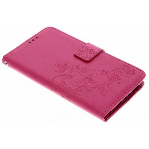 Klavertje Bloemen Booktype voor Huawei P20 Pro - Roze