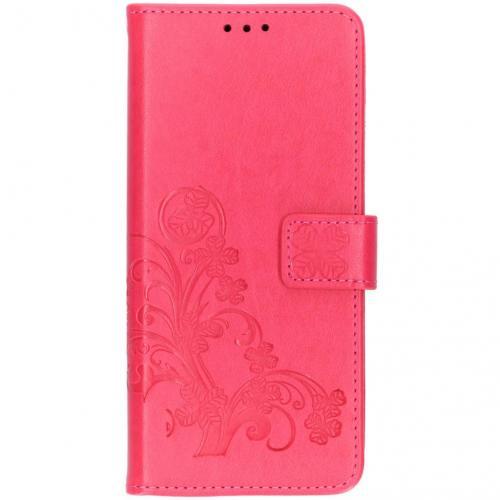 Klavertje Bloemen Booktype voor Samsung Galaxy S10 Plus - Roze