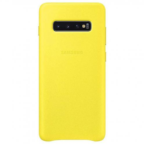 Leather Backcover voor Galaxy S10 Plus - Geel