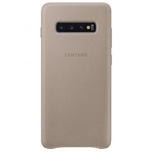 Leather Backcover voor Galaxy S10 Plus - Grijs