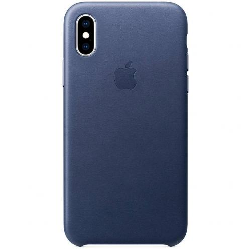 Leather Backcover voor iPhone Xs Max - Midnight Blue
