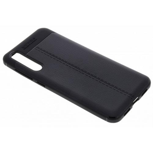 Lederen Backcover met stiksel voor Huawei P20 Pro - Zwart