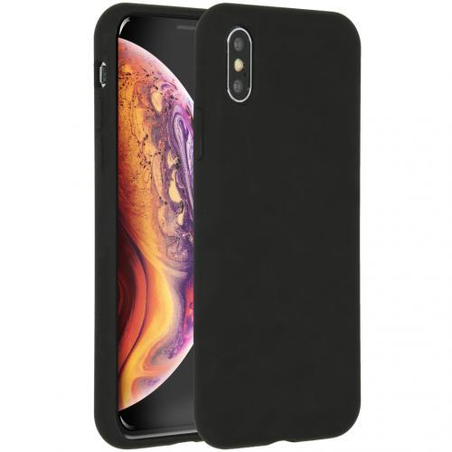 Liquid Silicone Backcover voor de iPhone Xs / X - Zwart