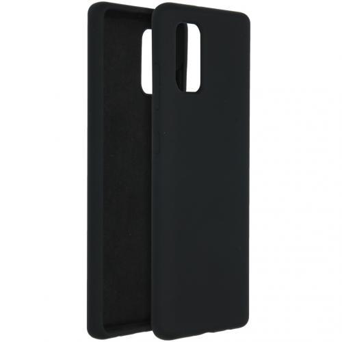 Liquid Silicone Backcover voor de Samsung Galaxy A41 - Zwart