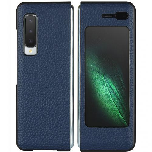 Litchi Real Leather Booktype voor de Samsung Galaxy Fold - Blauw