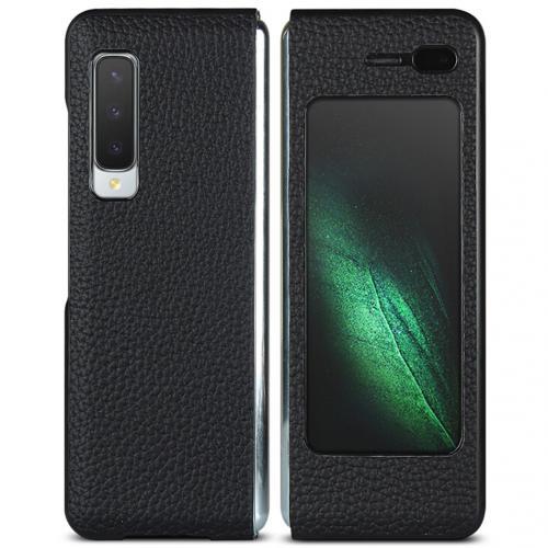 Litchi Real Leather Booktype voor de Samsung Galaxy Fold - Zwart