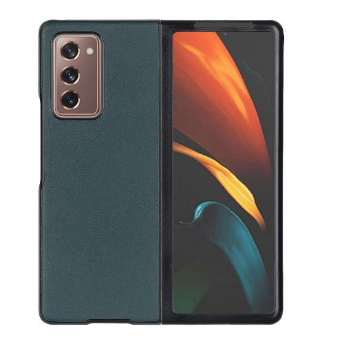 Litchi Real Leather Shell voor de Samsung Galaxy Z Fold2 - Groen