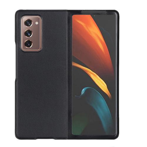 Litchi Real Leather Shell voor de Samsung Galaxy Z Fold2 - Zwart