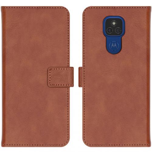 Luxe Booktype voor de Motorola Moto E7 Plus / G9 Play - Bruin