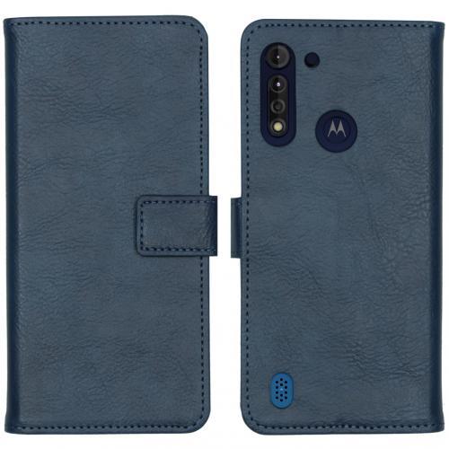 Luxe Booktype voor de Motorola Moto G8 Power Lite - Donkerblauw