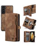 Luxe Lederen 2 in 1 Portemonnee Booktype voor de Samsung Galaxy S21 - Bruin