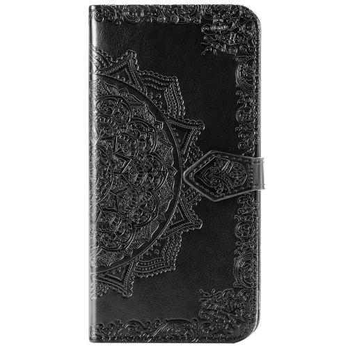 Mandala Booktype voor de Motorola Moto E7 Plus / G9 Play - Zwart