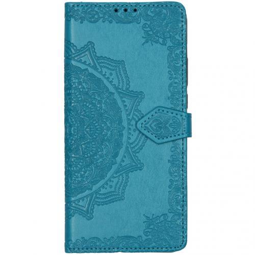 Mandala Booktype voor de Motorola Moto G8 Power Lite - Turquoise