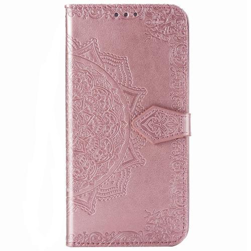 Mandala Booktype voor de Motorola Moto G9 Plus - Rosé Goud