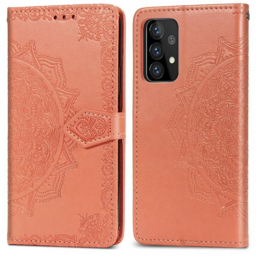 Mandala Booktype voor de Samsung Galaxy A52 (5G) / A52 (4G) - Oranje
