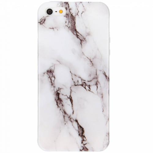 Marmer Softcase Backcover voor iPhone SE / 5 / 5s - Wit