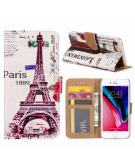 Parijs print lederen Bookcase hoesje  Wit