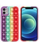 Pop It Fidget Toy - Pop It hoesje voor de iPhone 12 (Pro) - Rainbow