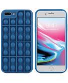 Pop It Fidget Toy - Pop It hoesje voor de iPhone 8 Plus / 7 Plus - Donkerblauw