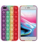 Pop It Fidget Toy - Pop It hoesje voor de iPhone 8 Plus / 7 Plus - Rainbow