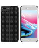 Pop It Fidget Toy - Pop It hoesje voor de iPhone 8 Plus / 7 Plus - Zwart