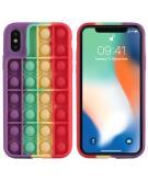 Pop It Fidget Toy - Pop It hoesje voor de iPhone Xs / X - Rainbow