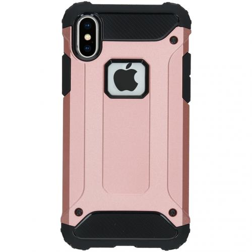 Rugged Xtreme Backcover voor de iPhone X - Rosé Goud