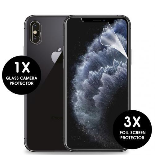 Screenprotector Folie 3 Pack + Camera Protector Glas voor de iPhone Xs / X