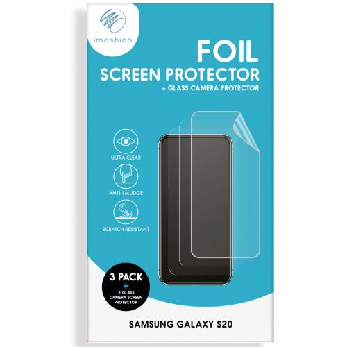 Screenprotector Folie 3 Pack + Camera Protector Glas voor de Samsung Galaxy S20