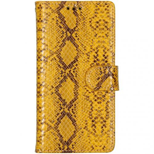Slangenprint Booktype voor de iPhone X / Xs - Geel
