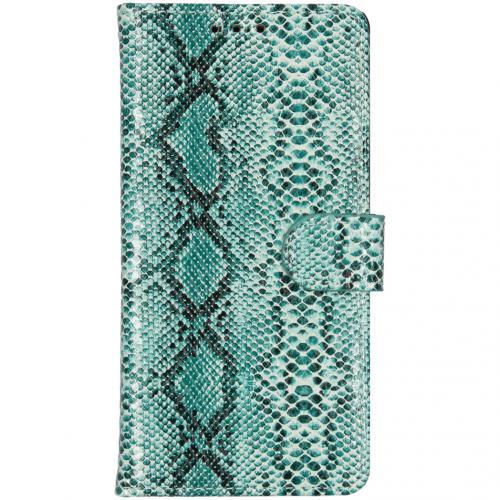 Slangenprint Booktype voor de iPhone Xr - Lichtblauw