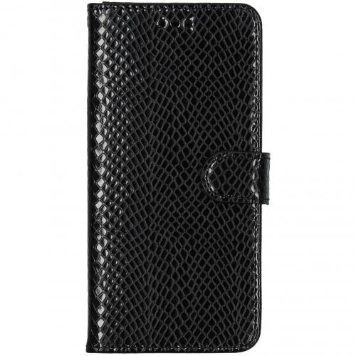 Slangenprint Booktype voor de Samsung Galaxy A51 - Zwart