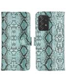 Slangenprint Booktype voor de Samsung Galaxy A52 (5G) / A52 (4G) - Lichtblauw