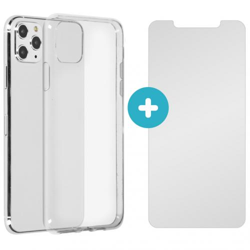 Softcase Backcover + Glass Screenprotector voor de iPhone 11 Pro Max - Transparant